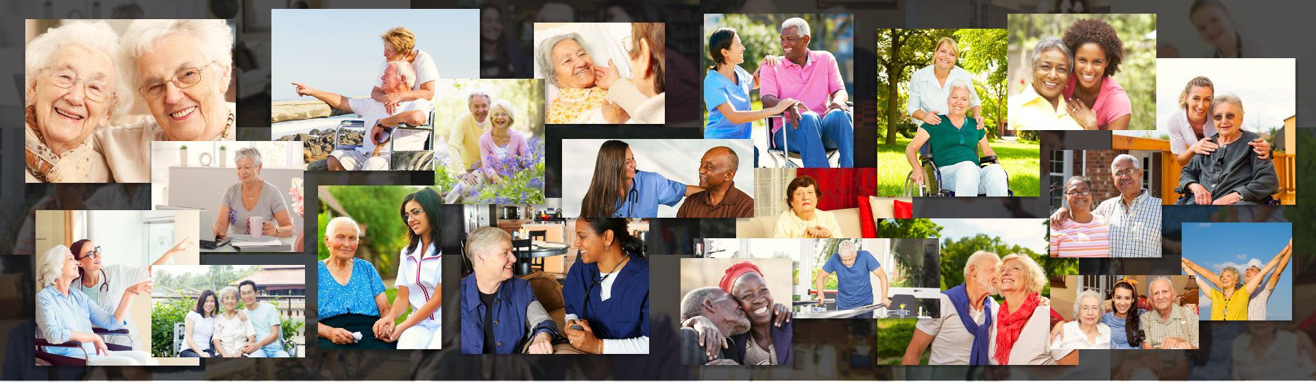pictures of elderly seniors and caregiver in a collage