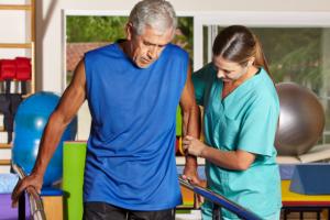 caregiver assisting the patient